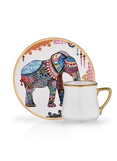 Glore Elephant 2'li Türk Kahve Seti Renkli